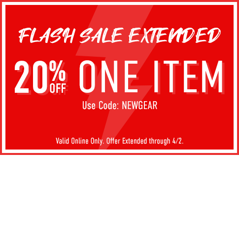 Flash Sale: 20% off one item. Use code: NEWGEAR. Click to shop now.